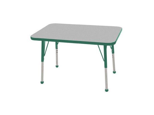 Early Childhood Resource ELR-14106-GGN-SB 24 in. x 36 in. Gray Rectangular Adjustable Activity Table with Green Edge and Green Standard Leg Ball Glides