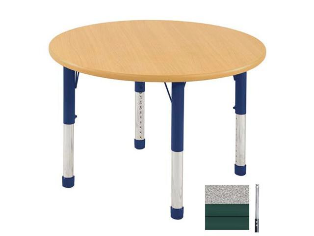 Early Childhood Resource ELR-14114-GGN-SS 36 in. Gray Round Adjustable Activity Table with Maple Edge and Green Standard Leg Nylon Swivel Glides