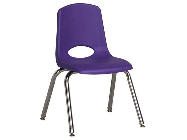 Early Childhood Resource ELR-0194-PUG 14 in. School Stack Chair with Chrome Swivel Glide Legs - Purple