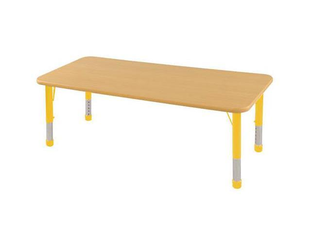 Early Childhood Resource ELR-14109-MMYE-C 24 in. x 72 in. Maple Rectangular Adjustable Activity Table with Yellow Chunky Leg