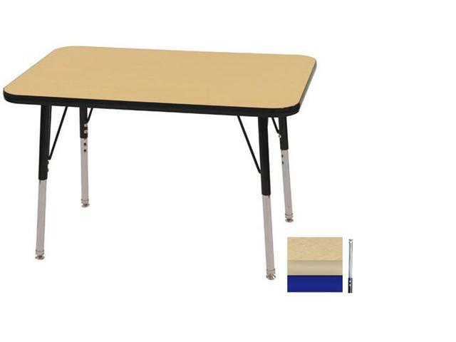 Early Childhood Resource ELR-14106-MMBL-TS 24 in. x 36 in. Maple Rectangular Adjustable Activity Table with Maple Edge and Blue Toddler Legs Nylon Swivel Glides