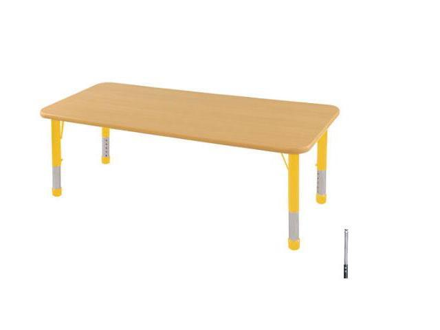 Early Childhood Resource ELR-14109-MMYE-SS 24 in. x 72 in. Maple Rectangular Adjustable Activity Table with Maple Edge and Yellow Standard Leg Nylon Swivel Glides