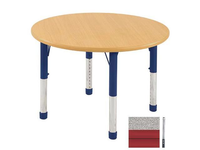 Early Childhood Resource ELR-14114-GRD-SS 36 in. Gray Round Adjustable Activity Table with Maple Edge and Red Standard Leg Nylon Swivel Glides