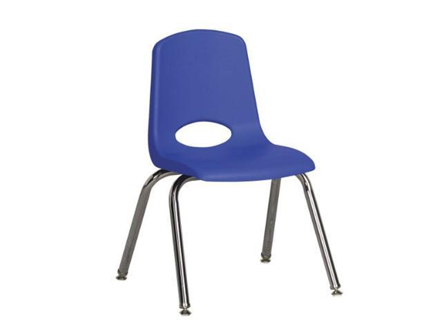 Early Childhood Resource ELR-0193-BLG 12 in. School Stack Chair with Chrome Swivell Glide Legs - Blue