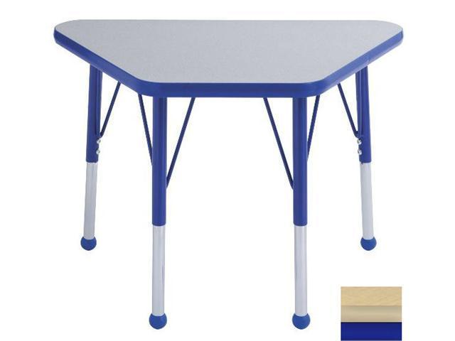 Early Childhood Resource ELR-14118-MMBL-TB 18 in. x 30 in. Maple Adjustable Learning Table with Maple Edge and Blue Toddler Leg Ball Glides