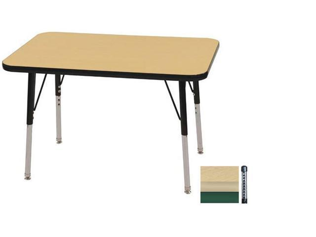Early Childhood Resource ELR-14106-MMGN-C 24 in. x 36 in. Maple Rectangular Adjustable Activity Table with Green Chunky Legs