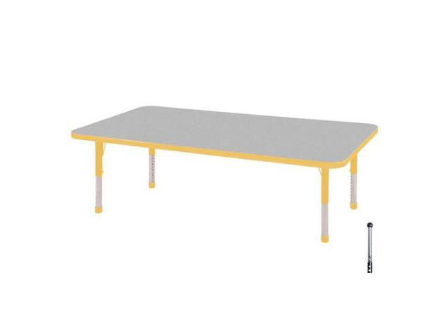 Early Childhood Resource ELR-14111-GYE-SB 30 in. x 60 in. Gray Rectangular Adjustable Activity Table with Yellow Edge and Yellow Standard Leg Ball Glides