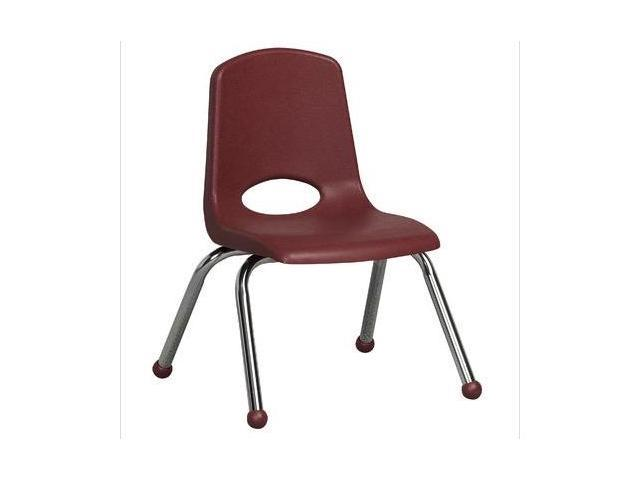 Early Childhood Resource ELR-0193-BY 12 in. School Stack Chair with Chrome Ball Glide Legs - Burgundy
