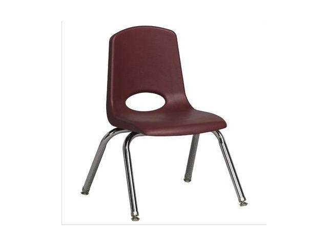 Early Childhood Resource ELR-0193-BYG 12 in. School Stack Chair with Chrome Swivell Glide Legs - Burgundy