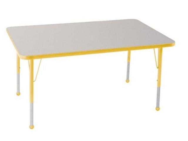 Early Childhood Resource ELR-14111-GYE-TB 30 in. x 60 in. Gray Rectangular Adjustable Activity Table with Yellow Edge and Yellow Toddler Leg Ball Glides
