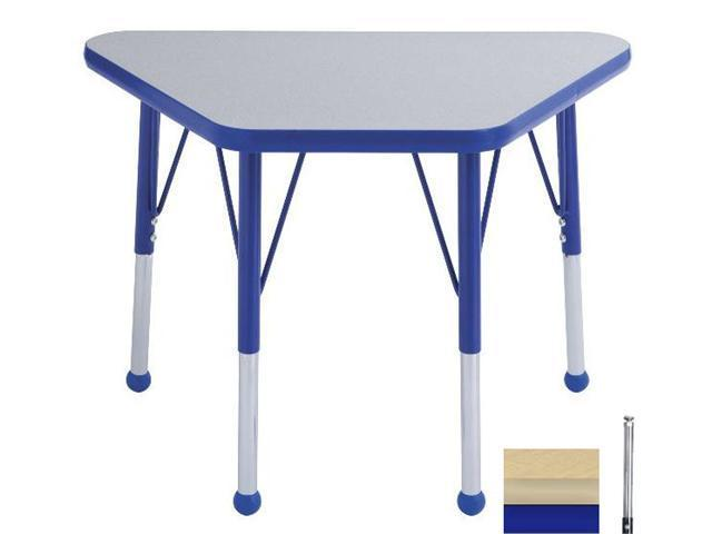 Early Childhood Resource ELR-14118-MMBL-SS 18 in. x 30 in. Maple Adjustable Learning Table with Maple Edge and Blue Standard Leg Nylon Swivel Glides