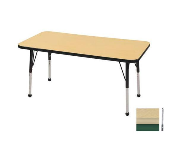 Early Childhood Resource ELR-14107-MMGN-TS 24 in. x 48 in. Maple Rectangular Adjustable Activity Table with Maple Edge and Blue Toddler Legs Nylon Swivel Glides