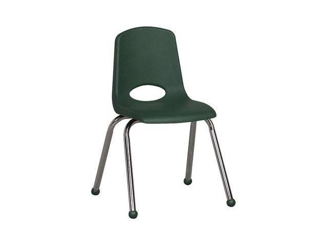 Early Childhood Resource ELR-0195-GN 16 in. School Stack Chair with Chrome Ball Glide Legs - Green