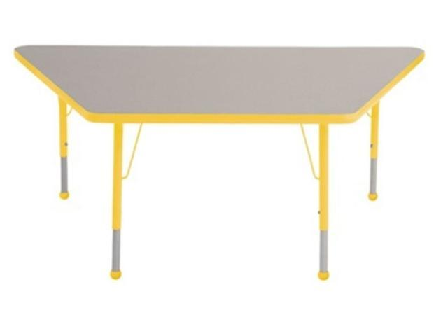 Early Childhood Resource ELR-14119-GYE-TB 30 in. x 60 in. Gray Trapezoid Adjustable Activity Table with Yellow Edge and Yellow Toddler Leg Ball Glides