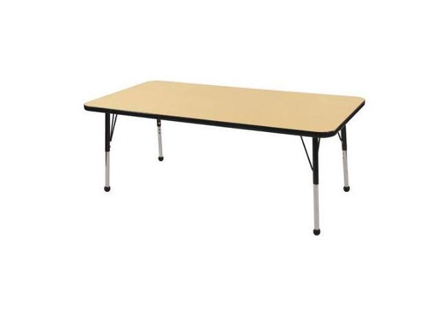 Early Childhood Resource ELR-14111-MBBK-SB 30 in. x 60 in. Maple Rectangular Adjustable Activity Table with Black Edge and Black Standard Leg Ball Glides