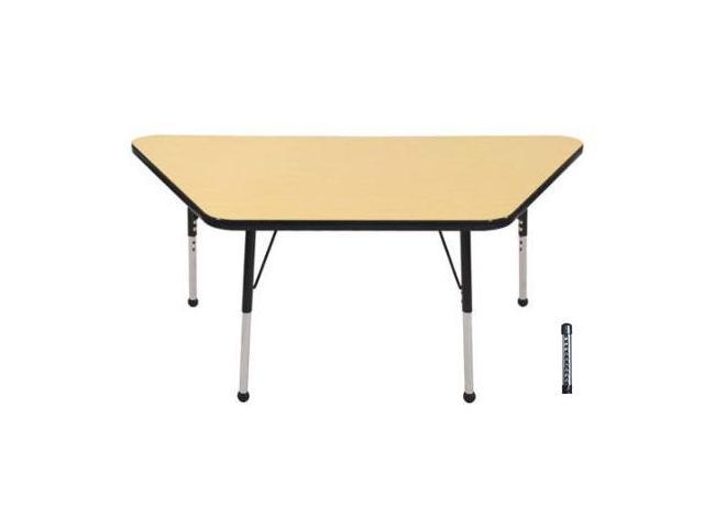 Early Childhood Resource ELR-14119-MBBK-C 30 in. x 60 in. Maple Trapezoid Adjustable Activity Table with Black Chunky Leg