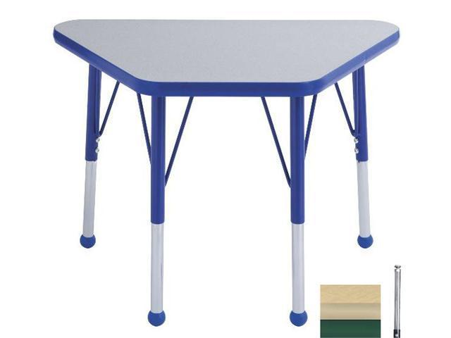 Early Childhood Resource ELR-14118-MMGN-TS 18 in. x 30 in. Maple Adjustable Learning Table with Maple Edge and Green Toddler Leg Nylon Swivel Glides