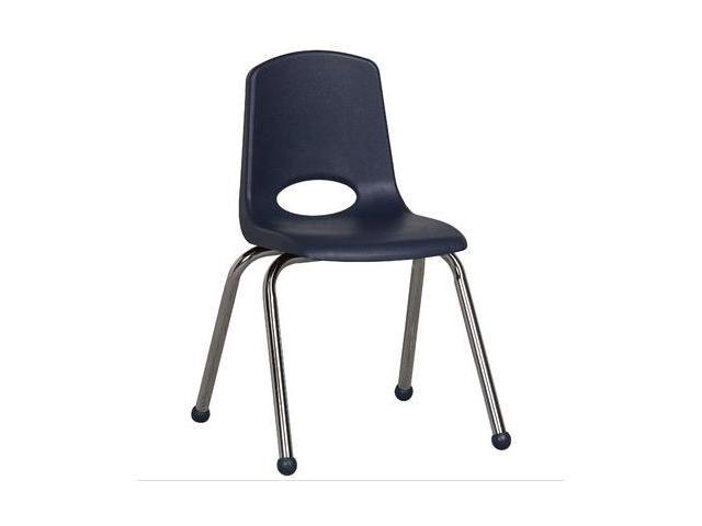 Early Childhood Resource ELR-0195-NV 16 in. School Stack Chair with Chrome Ball Glide Legs - Navy
