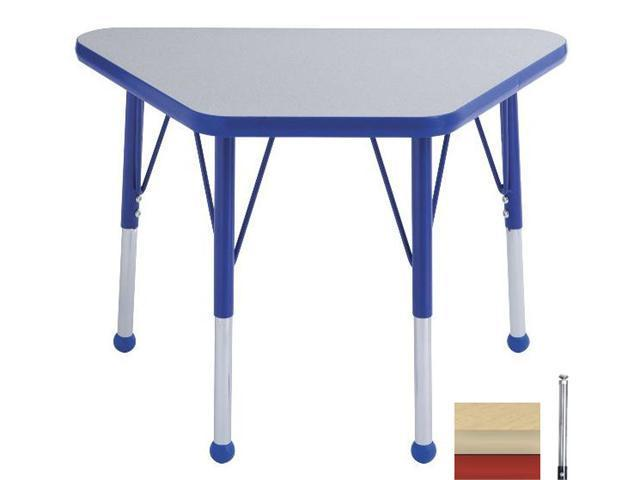 Early Childhood Resource ELR-14118-MMRD-SS 18 in. x 30 in. Maple Adjustable Learning Table with Maple Edge and Red Standard Leg Nylon Swivel Glides