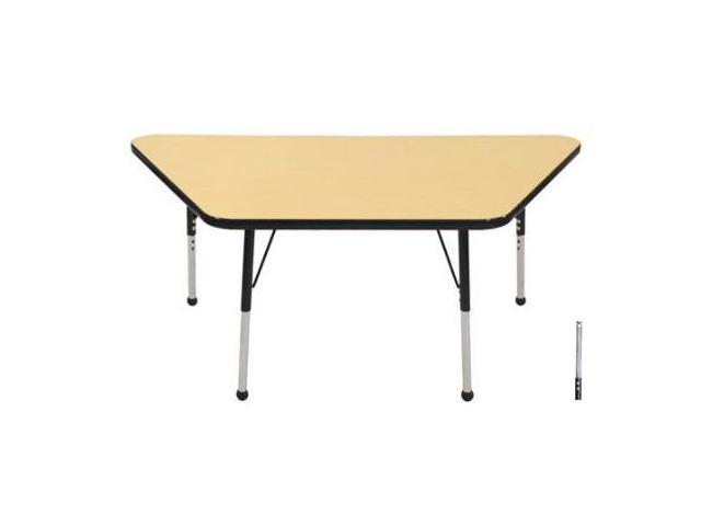 Early Childhood Resource ELR-14119-MBBK-TS 30 in. x 60 in. Maple Trapezoid Adjustable Activity Table with Black Edge and Black Toddler Legs Nylon Swivel Glides