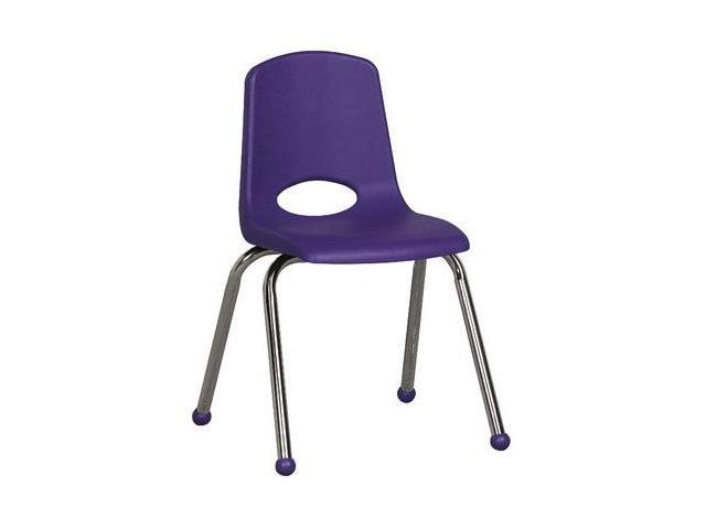 Early Childhood Resource ELR-0195-PU 16 in. School Stack Chair with Chrome Ball Glide Legs - Purple