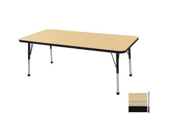 Early Childhood Resource ELR-14111-MMBK-SS 30 in. x 60 in. Maple Rectangular Adjustable Activity Table with Maple Edge and Black Standard Leg Nylon Swivel Glides