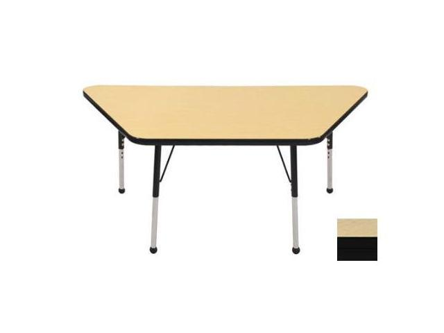 Early Childhood Resource ELR-14119-MMBK-SB 30 in. x 60 in. Maple Trapezoid Adjustable Activity Table with Maple Edge and Black Standard Leg Ball Glides
