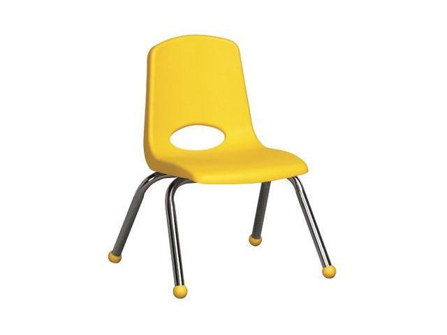Early Childhood Resource ELR-0193-YE 12 in. School Stack Chair with Chrome Ball Glide Legs - Yellow