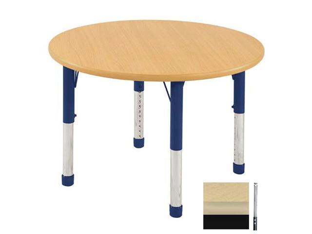 Early Childhood Resource ELR-14114-MMBK-SS 36 in. Maple Round Adjustable Activity Table with Maple Edge and Black Standard Leg Nylon Swivel Glides