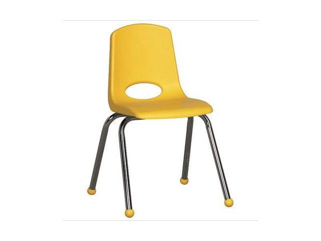 Early Childhood Resource ELR-0195-YE 16 in. School Stack Chair with Chrome Ball Glide Legs - Yellow