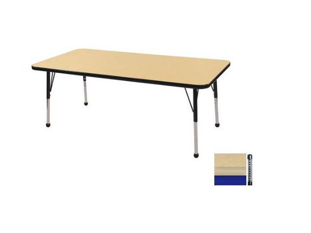 Early Childhood Resource ELR-14111-MMBL-C 30 in. x 60 in. Maple Rectangular Adjustable Activity Table with Black Chunky Leg