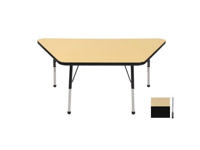 Early Childhood Resource ELR-14119-MMBK-TS 30 in. x 60 in. Maple Trapezoid Adjustable Activity Table with Maple Edge and Black Toddler Legs Nylon Swivel Glides