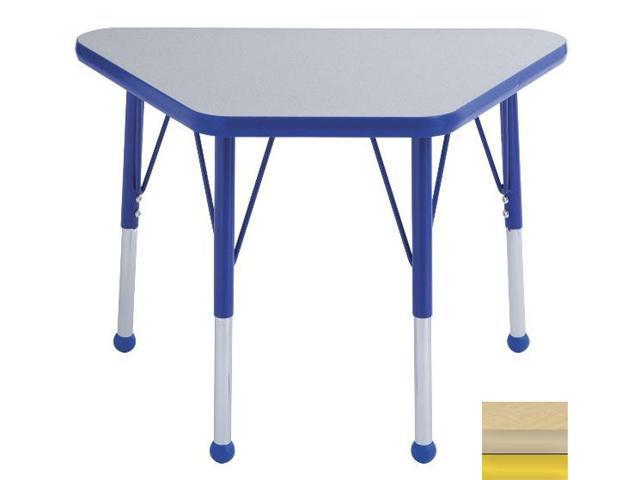 Early Childhood Resource ELR-14118-MMYE-TB 18 in. x 30 in. Maple Adjustable Learning Table with Maple Edge and Yellow Toddler Leg Ball Glides