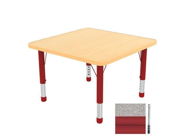 Early Childhood Resource ELR-14116-GRD-SS 30 in. Gray Square Adjustable Activity Table with Red Edge and Red Standard Legs Nylon Swivel Glide