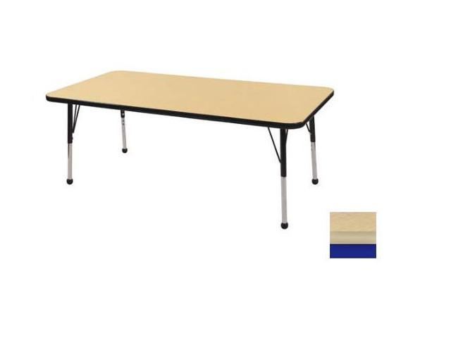 Early Childhood Resource ELR-14111-MMBL-TB 30 in. x 60 in. Maple Rectangular Adjustable Activity Table with Maple Edge and Black Toddler Leg Ball Glides