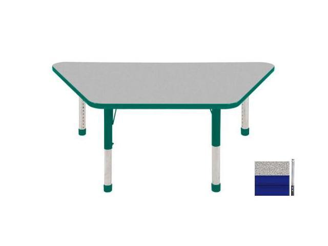 Early Childhood Resource ELR-14119-GBL-SS 30 in. x 60 in. Gray Trapezoid Adjustable Activity Table with Blue Edge and Blue Standard Leg Nylon Swivel Glides