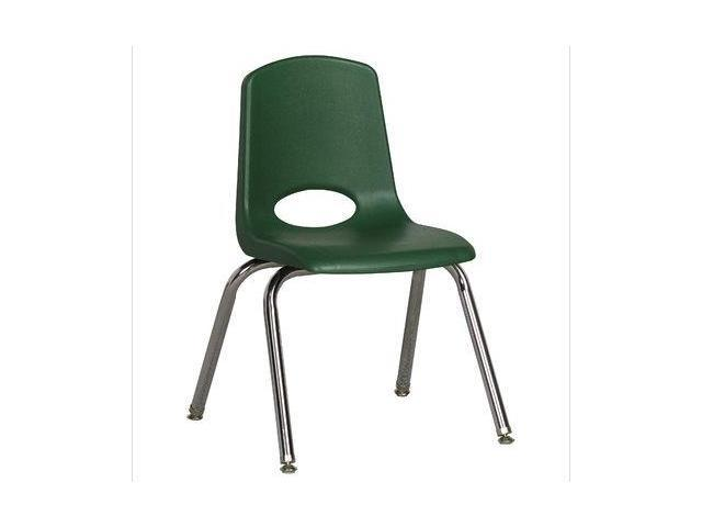 Early Childhood Resource ELR-0194-GNG 14 in. School Stack Chair with Chrome Swivel Glide Legs - Green