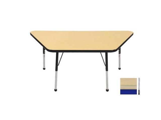Early Childhood Resource ELR-14119-MMBL-TS 30 in. x 60 in. Maple Trapezoid Adjustable Activity Table with Maple Edge and Blue Toddler Legs Nylon Swivel Glides