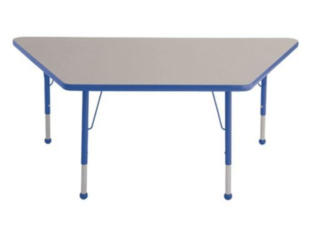 Early Childhood Resource ELR-14119-GBL-TB 30 in. x 60 in. Gray Trapezoid Adjustable Activity Table with Blue Edge and Blue Toddler Leg Ball Glides