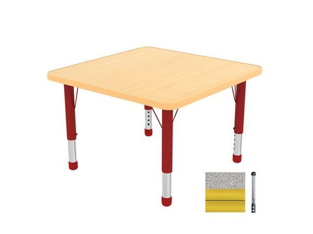 Early Childhood Resource ELR-14116-GYE-SB 30 in. Gray Square Adjustable Activity Table with Yellow Edge and Yellow Standard Leg Ball Glides