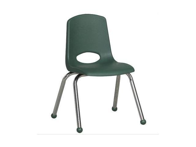 Early Childhood Resource ELR-0194-HG 14 in. School Stack Chair with Chrome Ball Glide Legs - Hunter