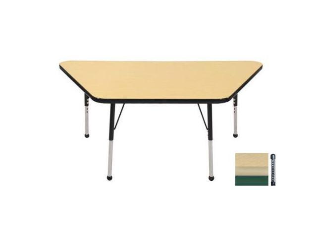 Early Childhood Resource ELR-14119-MMGN-C 30 in. x 60 in. Maple Trapezoid Adjustable Activity Table with Green Chunky Leg