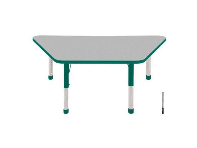Early Childhood Resource ELR-14119-GGN-SS 30 in. x 60 in. Gray Trapezoid Adjustable Activity Table with Green Edge and Green Standard Leg Nylon Swivel Glides