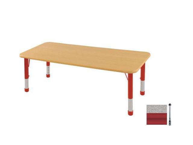 Early Childhood Resource ELR-14109-GRD-SB 24 in. x 72 in. Gray Rectangular Adjustable Activity Table with Red Edge and Red Standard Leg Ball Glides