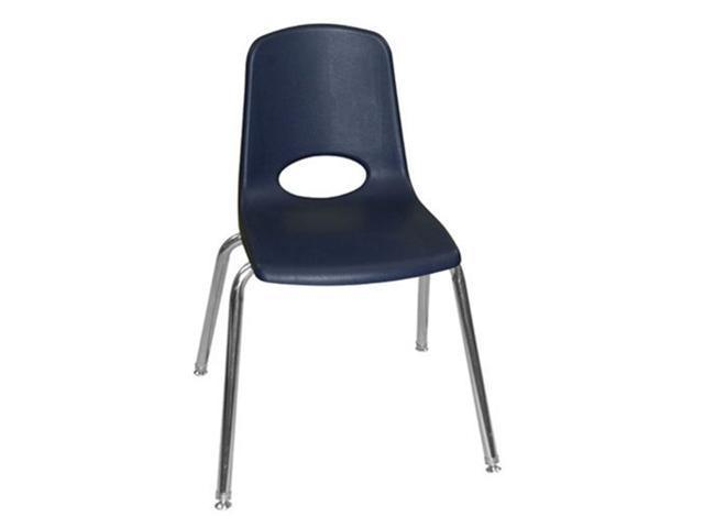 Early Childhood Resource ELR-0196-NVG 18 in. School Stack Chair with Chrome Swivel Glide Legs - Navy