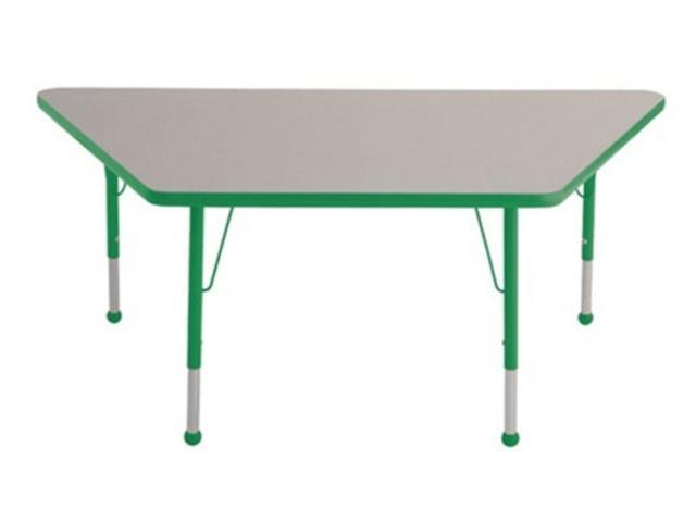 Early Childhood Resource ELR-14119-GGN-TB 30 in. x 60 in. Gray Trapezoid Adjustable Activity Table with Green Edge and Green Toddler Leg Ball Glides