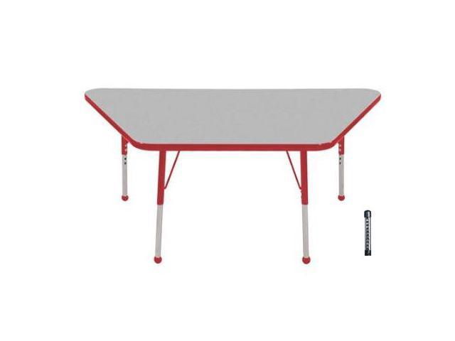 Early Childhood Resource ELR-14119-GRD-C 30 in. x 60 in. Gray Trapezoid Adjustable Activity Table with Red Chunky Leg