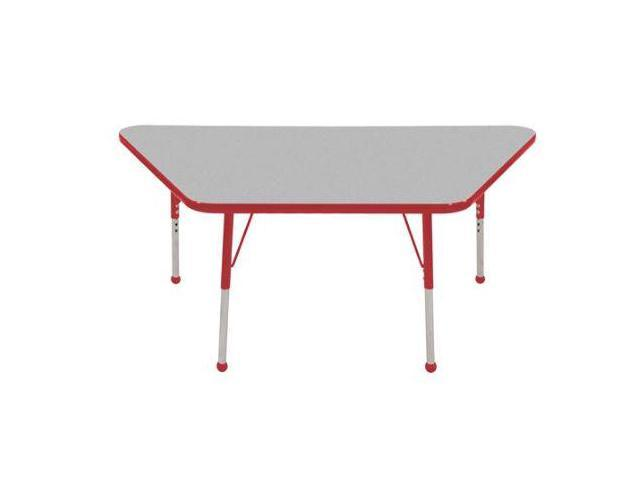 Early Childhood Resource ELR-14119-GRD-SB 30 in. x 60 in. Gray Trapezoid Adjustable Activity Table with Red Edge and Red Standard Leg Ball Glides