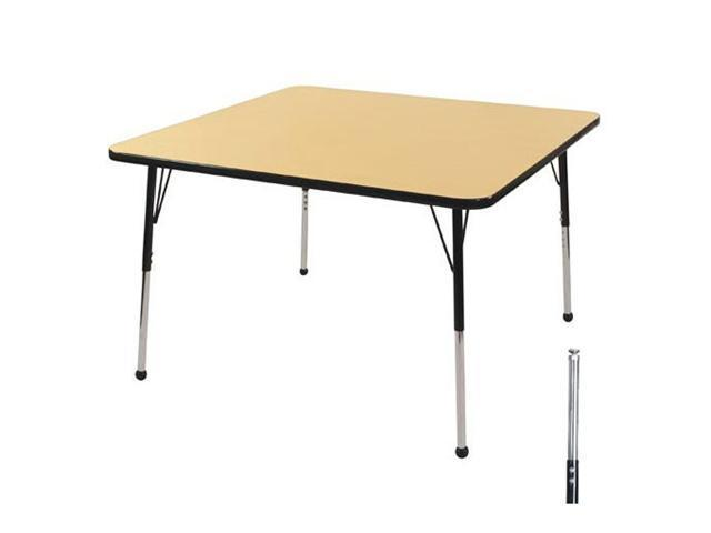 Early Childhood Resource ELR-14116-MBBK-TS 30 in. Maple Square Adjustable Activity Table with Black Edge and Black Toddler Legs Nylon Swivel Glides