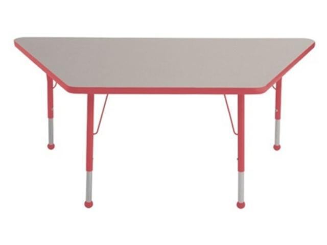 Early Childhood Resource ELR-14119-GRD-TB 30 in. x 60 in. Gray Trapezoid Adjustable Activity Table with Red Edge and Red Toddler Leg Ball Glides